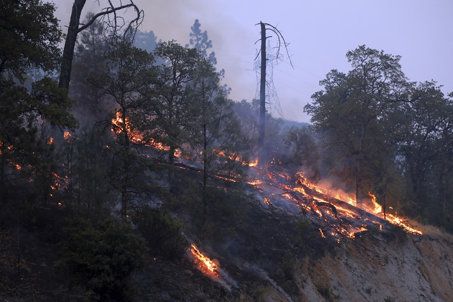 "A hot spot burns near Whiskeytown Lake outside Redding, Calif., July 31, 2018. Officials said the Carr Fire was one of 17 major fires across California that have consumed more than 450,000 acres. Gov. Jerry Brown called it the ""new normal."" - JIM WILSON/THE NEW YORK TIMES"