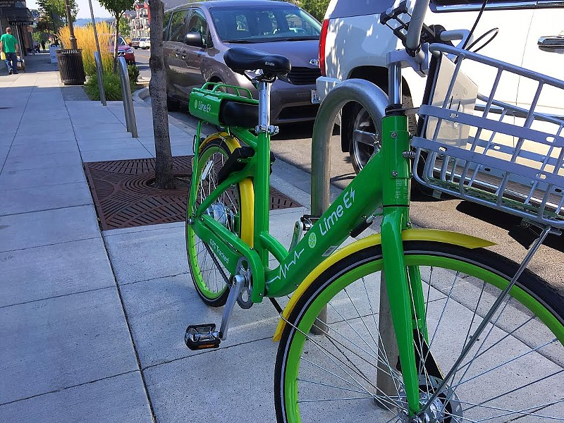 LimeBike in Kendall Yards. - SAMANTHA WOHLFEIL PHOTO