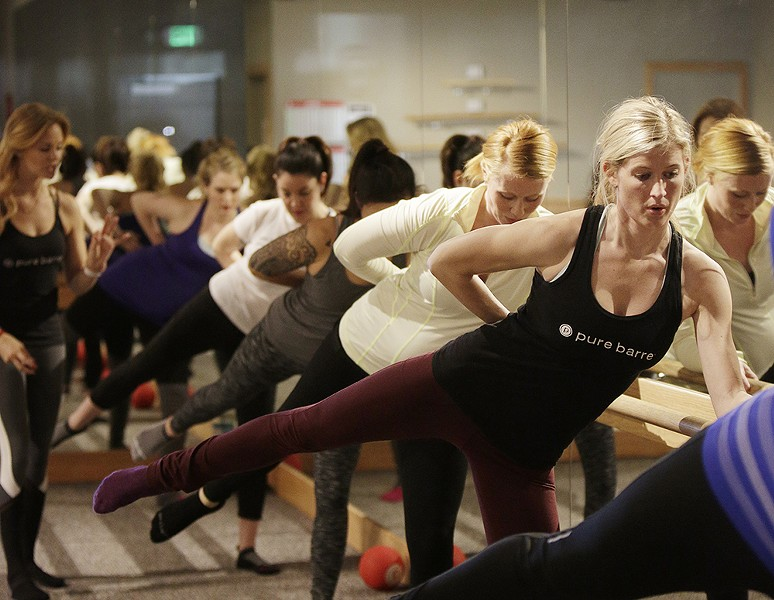 Master teacher Carli Morris leads a class at Pure Barre. - YOUNG KWAK