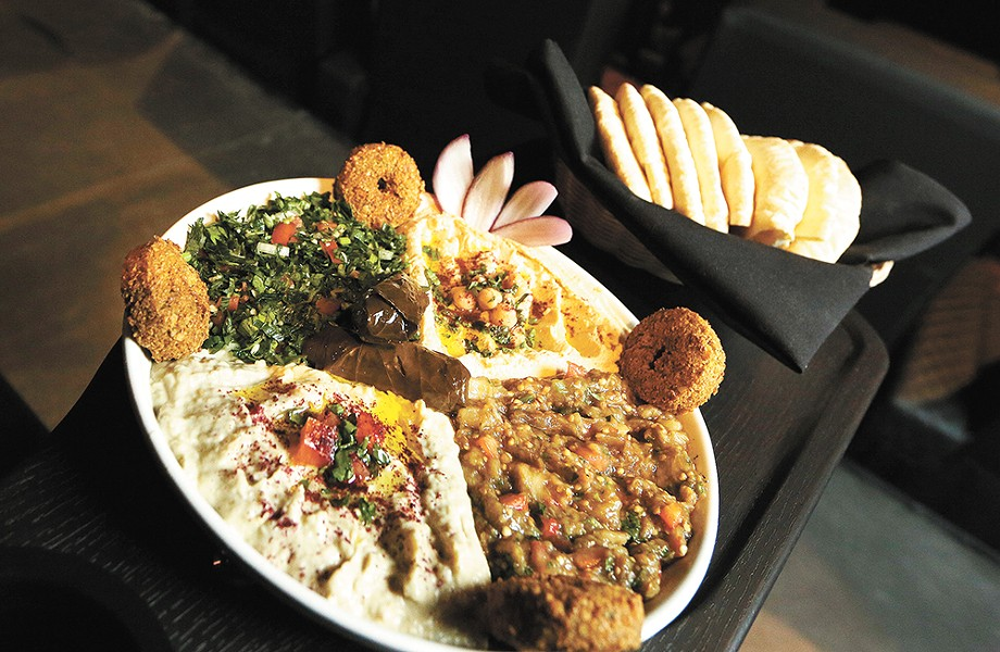 Movie & Dinner's Middle Eastern platter, served in the restaurant. - YOUNG KWAK