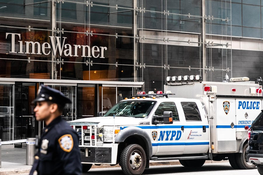 Police outside the Time Warner Center in New York after the discovery of an explosive device at the CNN offices, Oct. 24, 2018. Explosive devices were sent to former President Barack Obama and former Secretary of State Hillary Clinton, as well as to CNN's offices in New York, sparking an intense investigation on Wednesday into whether a bomber is going after targets that have often been the subject of right-wing ire. - JEENAH MOON/THE NEW YORK TIMES