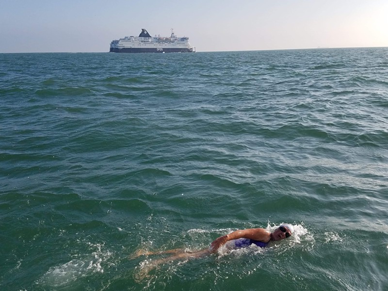 Robin Davis was part of a two-person team to swim across the English Channel. - COURTESY OF ROBIN DAVIS