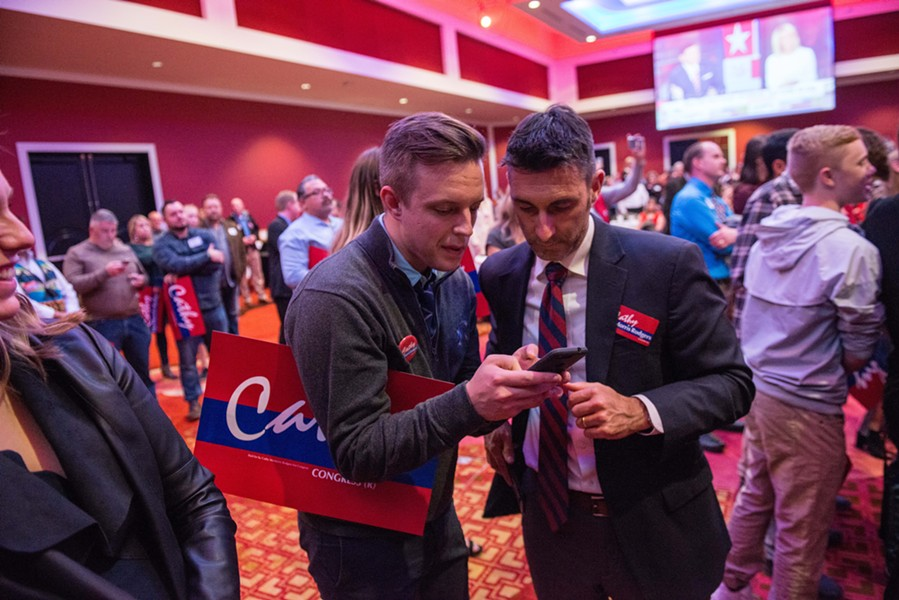 Former legislative aide Jake Mayson and former Washington state Rep. Kevin Parker dig into ballot results. - DANIEL WALTERS
