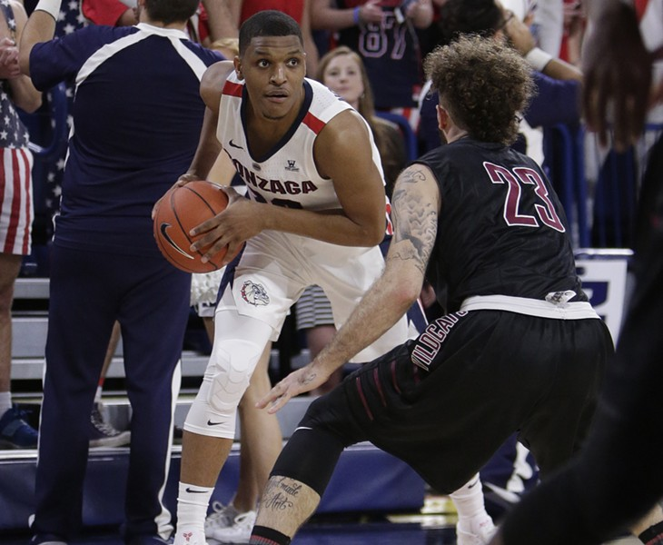 Gonzaga guard Zach Norvell Jr., left, looks to pass while defended by Central Washington guard Malik Montoya (23) during the first half of an NCAA college basketball exhibition game in Spokane, on Nov. 1. - YOUNG KWAK