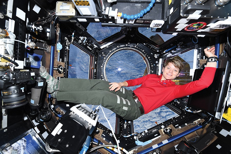 Anne McClain floats above the earth on the International Space Station. - CANADIAN SPACE AGENCY'S DAVID ST. JACQUES PHOTO