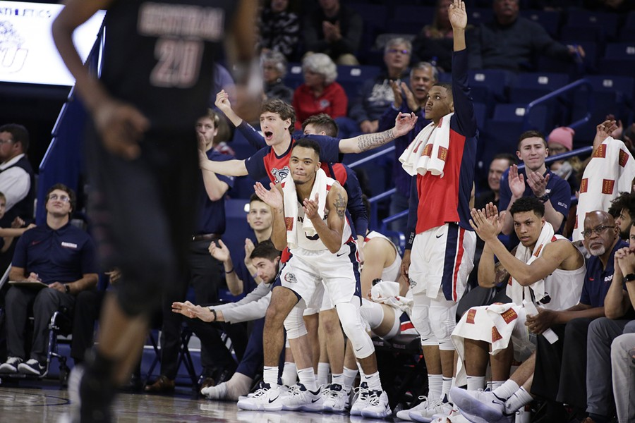 The Gonzaga bench celebrates during a game earlier this season. - YOUNG KWAK PHOTO