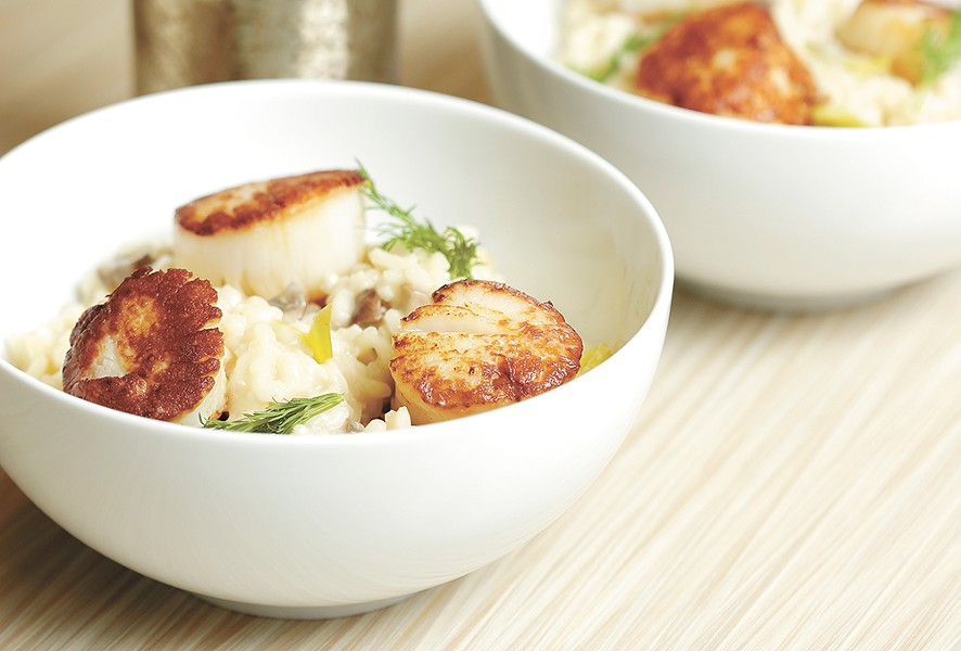 Scallops with mushroom leek risotto. - YOUNG KWAK PHOTO