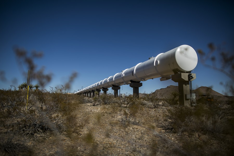 A section of hyperloop tube at the Virgin Hyperloop One test center in Moapa, Nev., Feb. 11, 2019. The system would put passengers in pods hurtling through vacuum tubes. Other companies are moving ahead with similar plans. - JOE BUGLEWICZ/THE NEW YORK TIMES