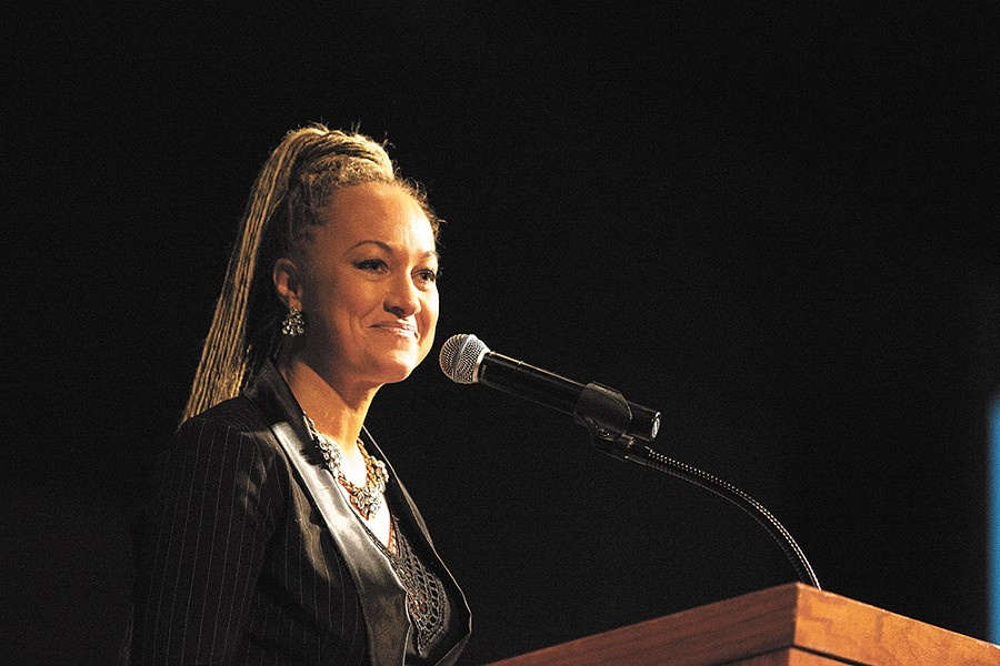 Rachel Dolezal at a local MLK rally in January of this year. - YOUNG KWAK