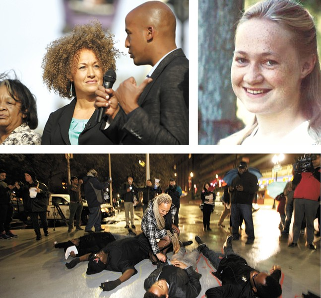 FROM LEFT:  Rachel Dolezal, filming an introduction video to the NAACP's Moral Mondays discussion series in May; at a Ferguson solidarity rally in November; Dolezal pictured in her youth.