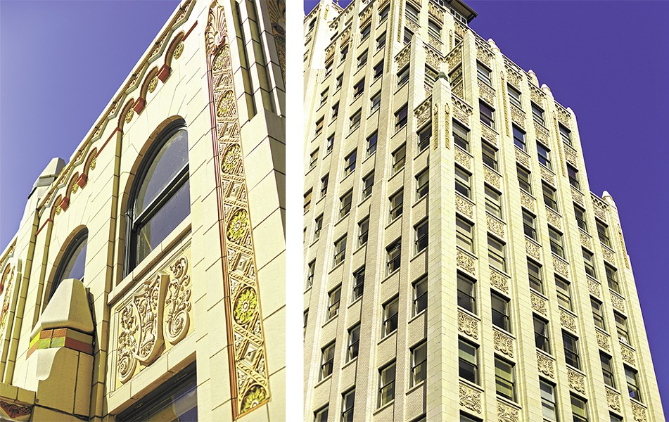 The Paulsen Medical and Dental Building (1929), designed by Swedish-born architect G.A. Pehrson, was one of the last major buildings to be constructed in downtown Spokane before the stock market crashed in October 1929. Pehrson designed it in the Art Deco style with Spanish and Moorish styled detailing.