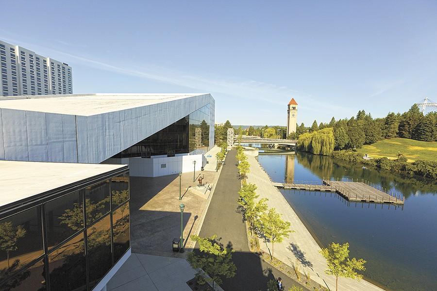 The angular Spokane Opera House (1974; now the INB Performing Arts Center) was designed by the firm Walker McGough as part of Expo '74's Washington State Pavilion.