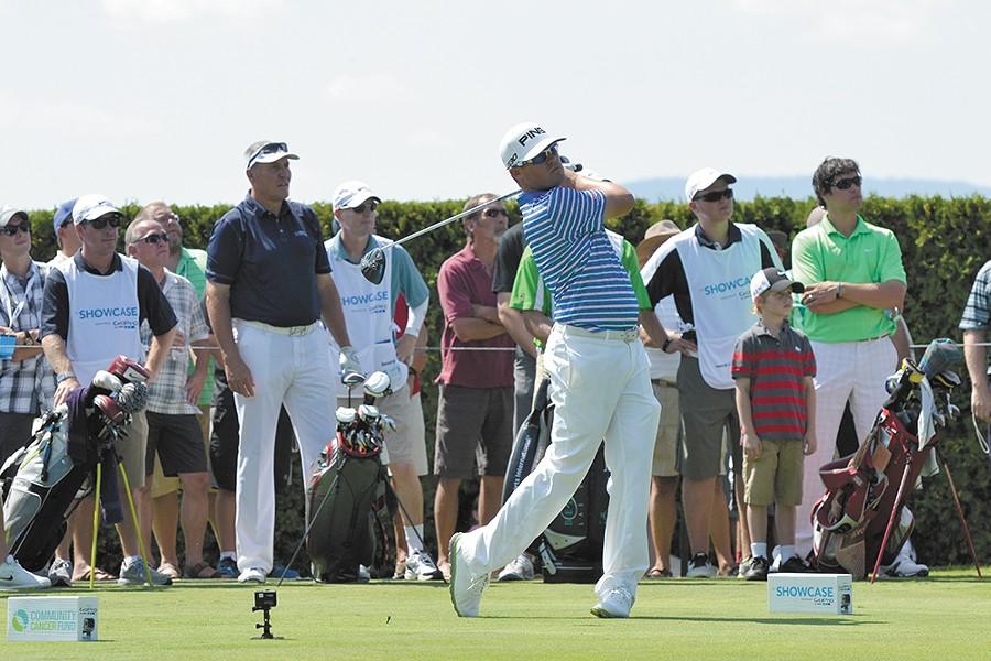 PGA golfer Alex Prugh tees off at the 2014 Showcase.