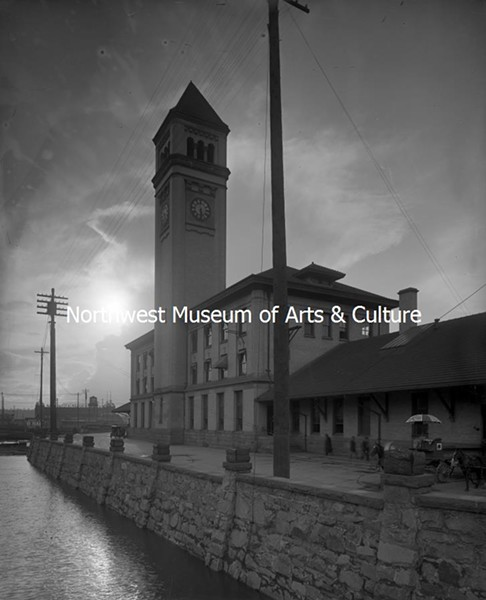 A stunning view of Spokane's famous Clocktower, the only remnant of the Great Northern Railroad Depot that's survived for more than a century. Taken in 1910 by Frank Palmer. - MAC