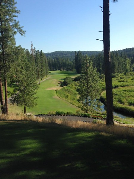 The epic back tee box on the par five 16th hole at The Creek at Qualchan Golf Course - SPOKANE PARKS AND RECREATION