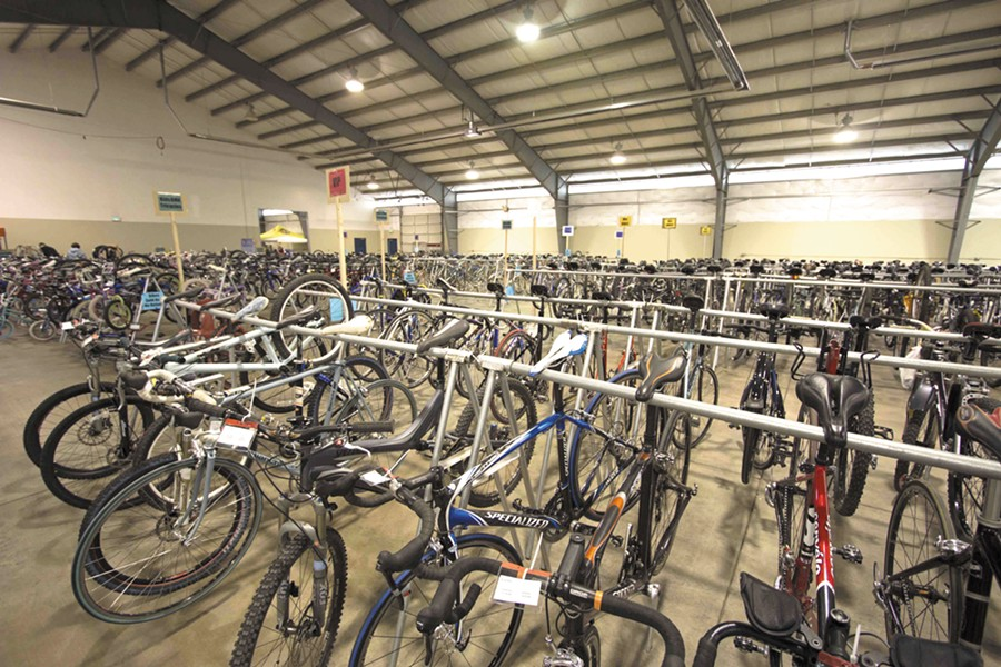 Hundreds of bikes await at the Spokane Bike Swap.