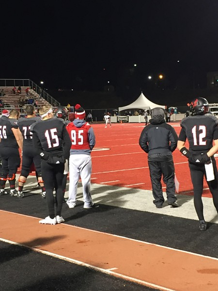 The future of Eastern's offense will likely land in the hands of one of the Eagles' two redshirt freshman QBs, Gage Gubrud (15) and Reilly Hennessey (12). - MAX CARTER