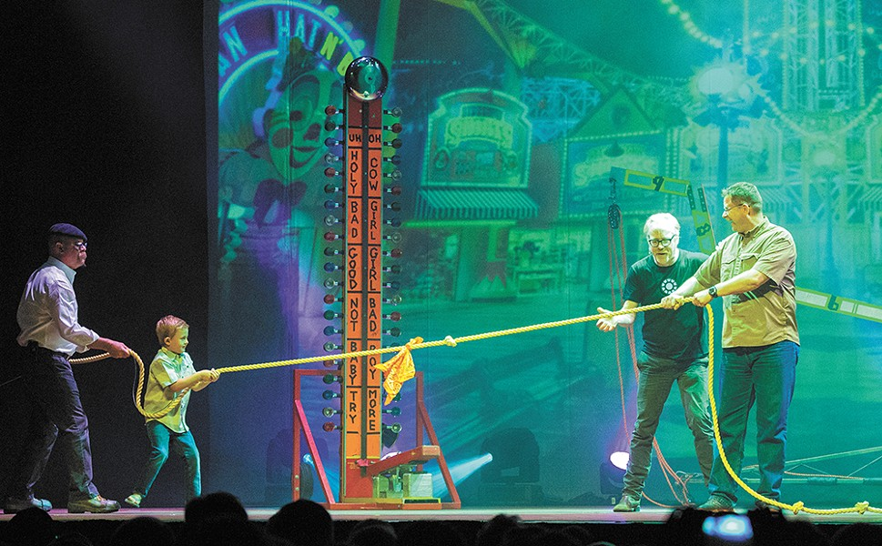 Adam Savage (second from right) and Jamie Hyneman are bringing Mythbusters to an end after a 14-season run.