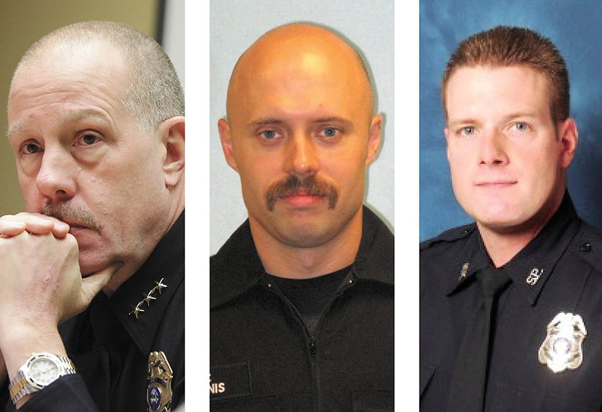 FROM LEFT: Former Police Chief Frank Straub, Sgt. Gordon Ennis and Officer Chris Conrath.