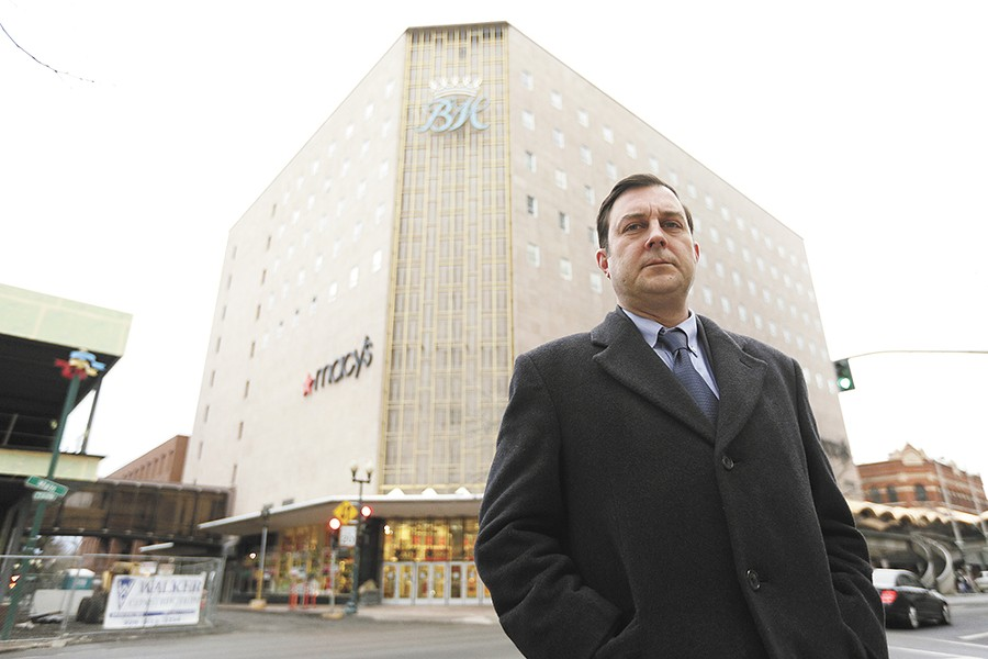Ben Stuckart at the soon-to-be-former site of Macy's in downtown Spokane. - YOUNG KWAK