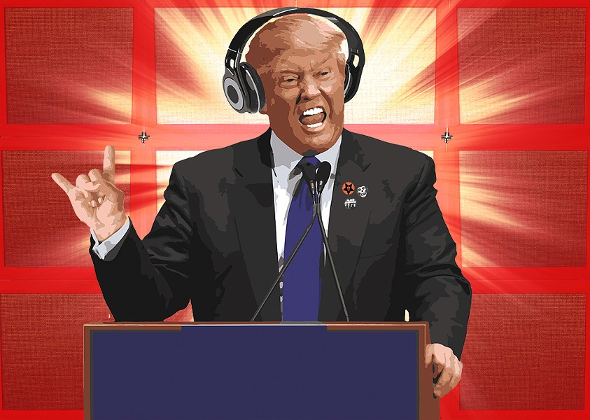 Donald Trump, like other politicians, uses music to pump up his crowds at campaign rallies. - DAVE KELLEY ILLUSTRATION