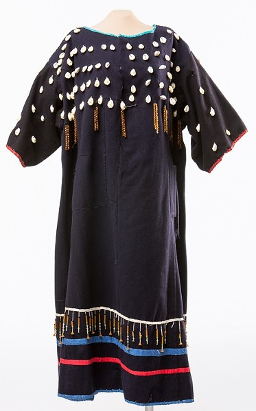 The dress is a fusion between U.S. Cavalry fabric and Cheyenne tribal design.
