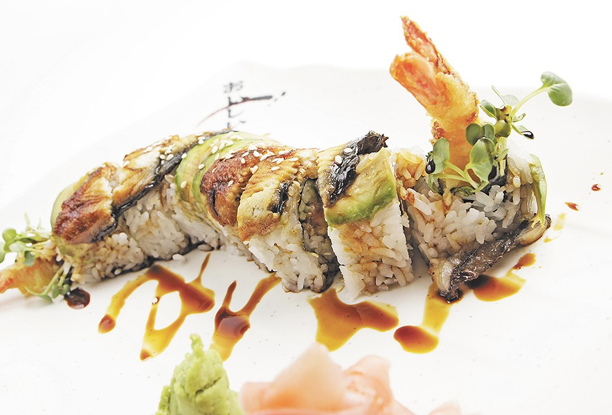 The dragon roll is artfully plated at Sushi.com. - YOUNG KWAK