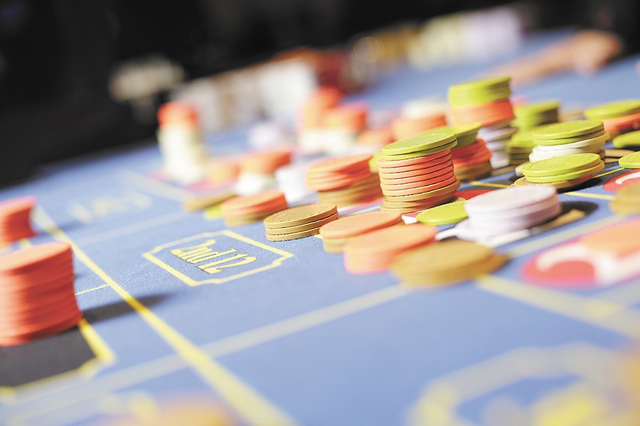 Chips stack up on the roulette table at Northern Quest Resort & Casino.