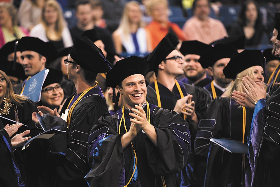 Gonzaga law students celebrate commencement at McCarthey Athletic Center.