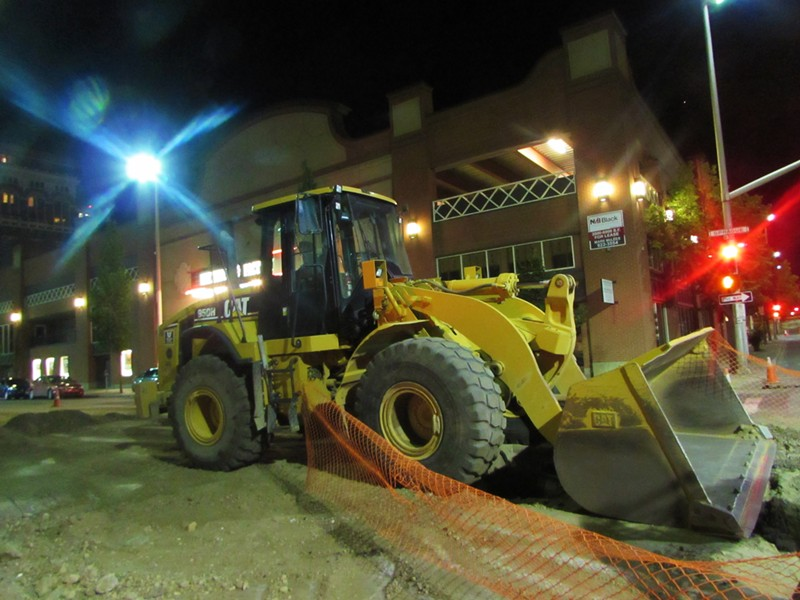 A bulldozer sits outside the Knitting Factory - DANIEL WALTERS PHOTO