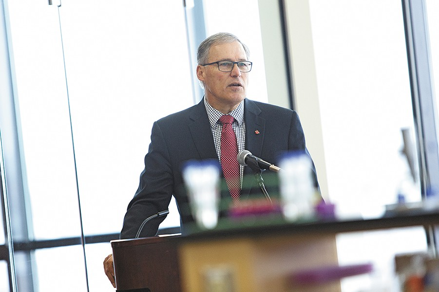 Critics of Gov. Jay Inslee say that the successes of the last four years, like lowering college tuition, have happened in spite of Inslee, not because of him. - YOUNG KWAK