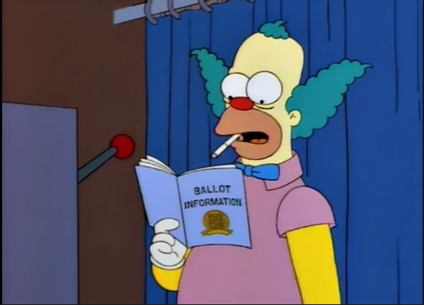 You say the election can't be rigged against Trump, but then how come the Springfield election was rigged against Sideshow Bob opponent Joe Quimby? Huh? Didn't think about that, didja? - THE SIMPSONS