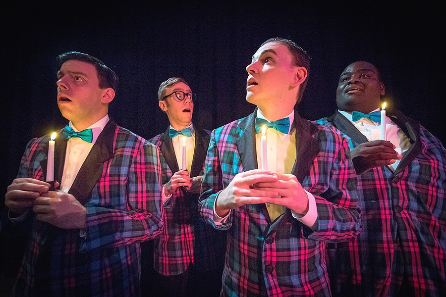 LEFT TO RIGHT: Actors Preston Loomer, Nick Whittman, David Hardie and Jonathan Barnes in Forever Plaid, Plaid Tidings. - JEFF FERGUSON
