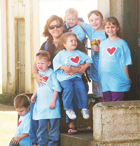 Connie Kerbs, a longtime former foster parent, with some of her children.