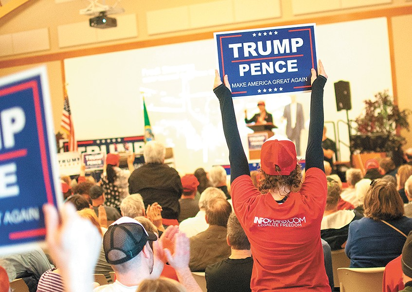 Supporters of President Donald Trump gathered across the country — including in Spokane Valley — to celebrate his agenda. - DANIEL WALTERS