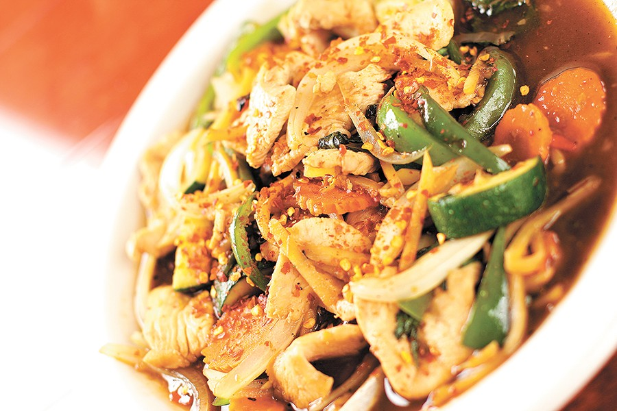 "The ""Spicy Old Man"" (pad kra prow) is a signature dish at Sala Thai in Airway Heights. - YOUNG KWAK"