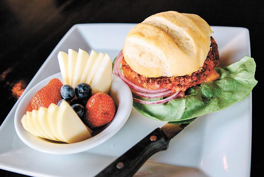 The vegan bean and beet burger at Cascadia Public House. - JENNIFER DEBARROS
