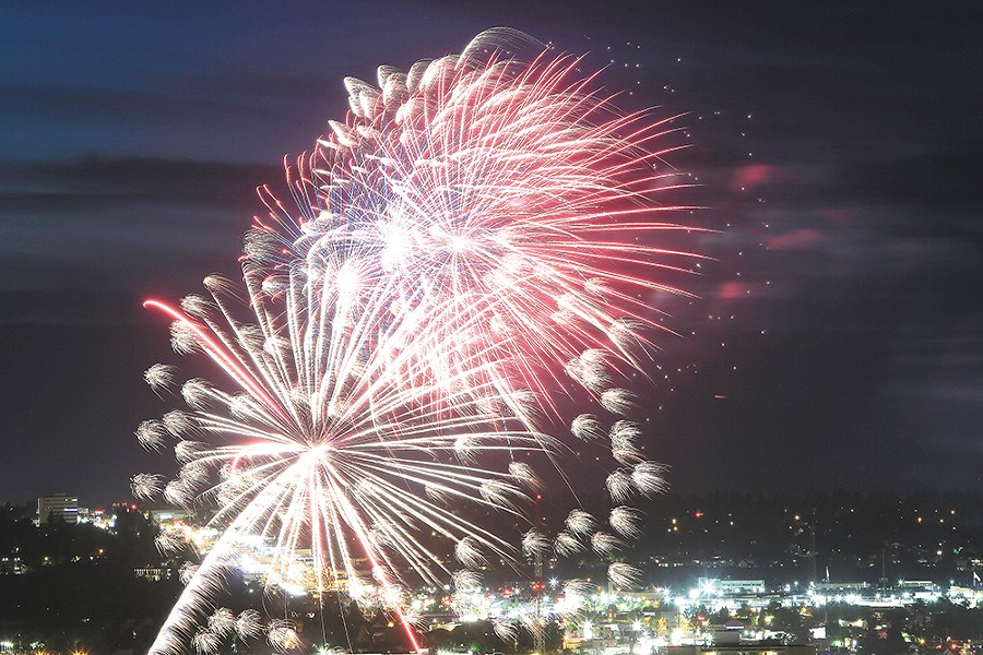 Fireworks over Riverfront Park.  YOUNG KWAK photo