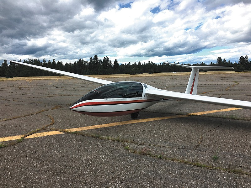 The Spokane Soaring Society's advanced training glider (left) — a Lark IS-28B2 — is a fully acrobatic two-seater. - MITCH RYALS