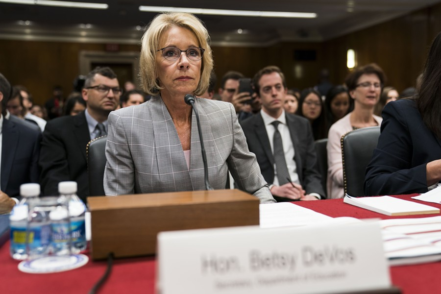 Education Secretary Betsy DeVos testifies before a subcommittee of the House Appropriations Committee on Capitol Hill, in Washington, June 6, 2017. - DOUG MILLS/THE NEW YORK TIMES