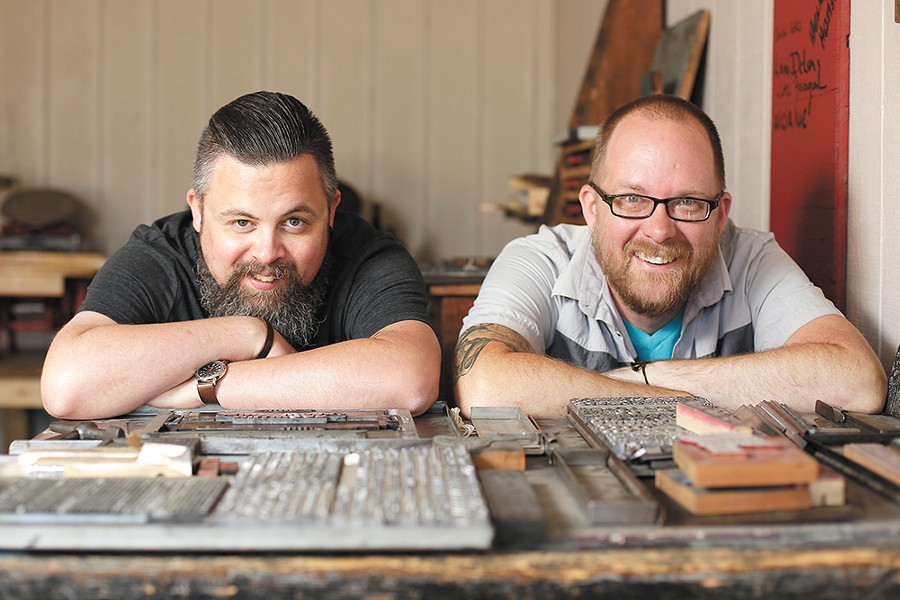 Millwood Print Works was founded by local printing experts Derek Landers (left), Thom Caraway and Bethany Taylor (not pictured). - YOUNG KWAK