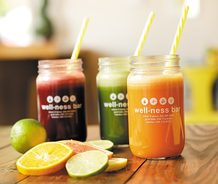 A sampling of juices from the Wellness Bar. - YOUNG KWAK