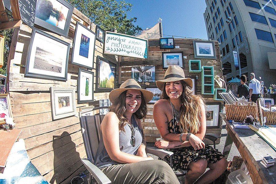 Photographer Jennifer DeBarros (right) and friend Haley Durgin showcase DeBarros's photography at Bazaar. - MEGHAN KIRK