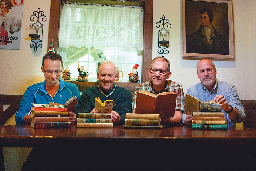 Members of Tiger Ray's Wine and Book Club (from left): Paul Warfield, Bob Delaney, Jim Anderson and Bill Long. - KRISTEN BLACK