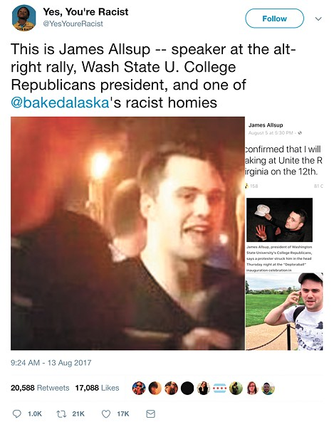 A Twitter account identified then-WSU College Republican President James Allsup as a participant at the rally in Charlottesville.