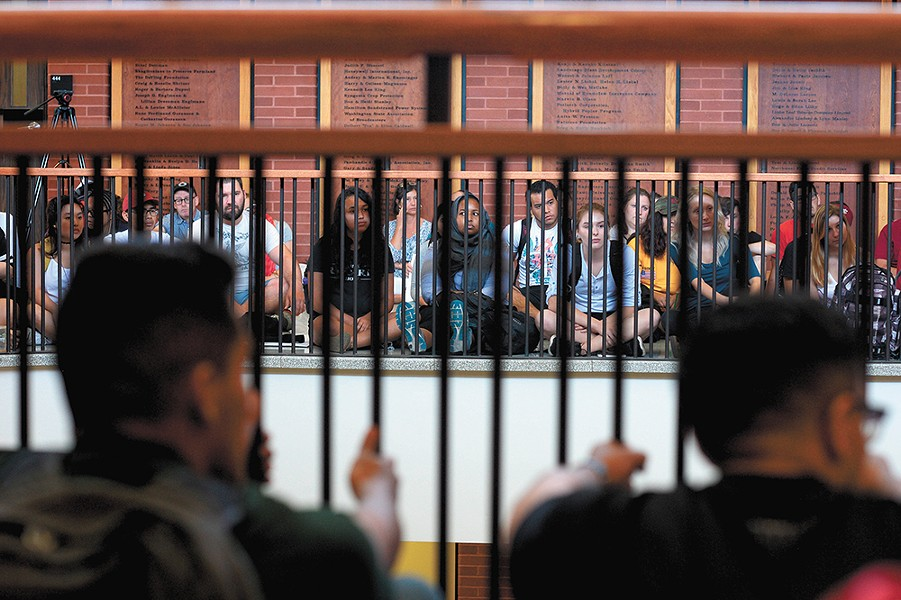 On Aug. 25, hundreds of WSU students staged a sit-in inside an administration building. - CODY COTTIER