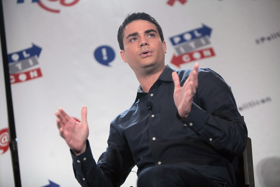 """Conservative pundit Ben Shapiro argues that the connectivity and anonymity the internet provides — combined with a backlash against identity politics — has resulted in some college students being drawn to the """"alt-right."""" - GAGE SKIDMORE"""