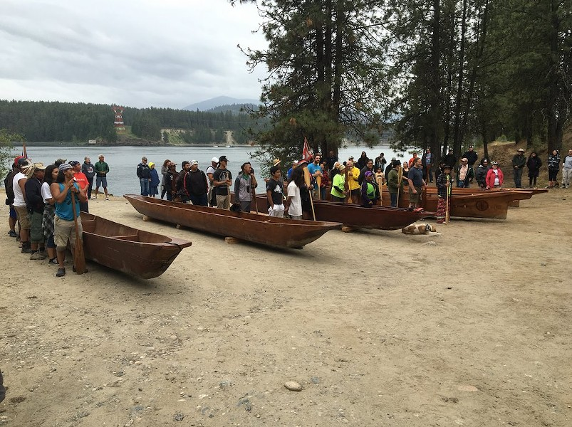 Traditional canoes used by UCUT tribes for their first tribal canoe gathering since 1943. - UPPER COLUMBIA UNITED TRIBES