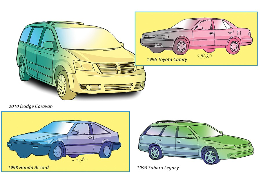 Mid-'90s Hondas, Toyotas and Subarus are among the most commonly stolen vehicles in Spokane. - CALEB WALSH ILLUSTRATION