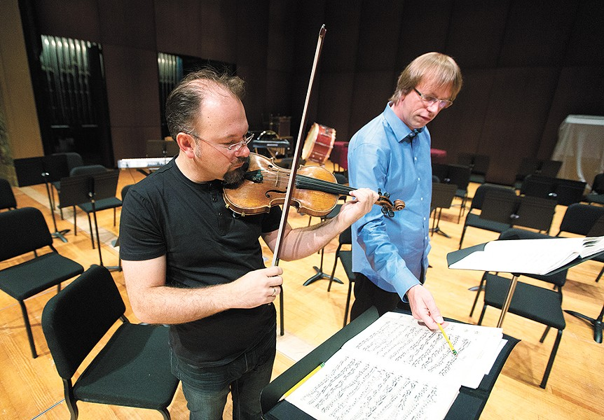Mateusz Wolski, left, solos this weekend for conductor Eckart Preu. - YOUNG KWAK